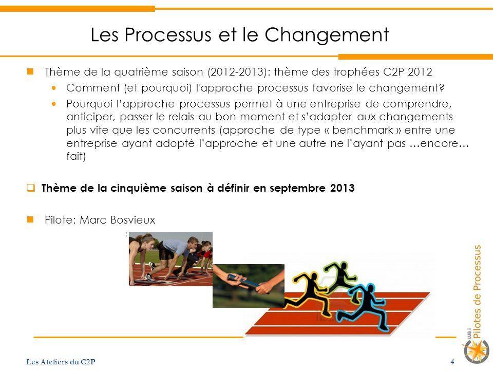 Les Processus et le Changement Thème de la quatrième saison (2012-2013): thème des trophées C2P 2012 Comment (et pourquoi) l approche processus favorise le changement.