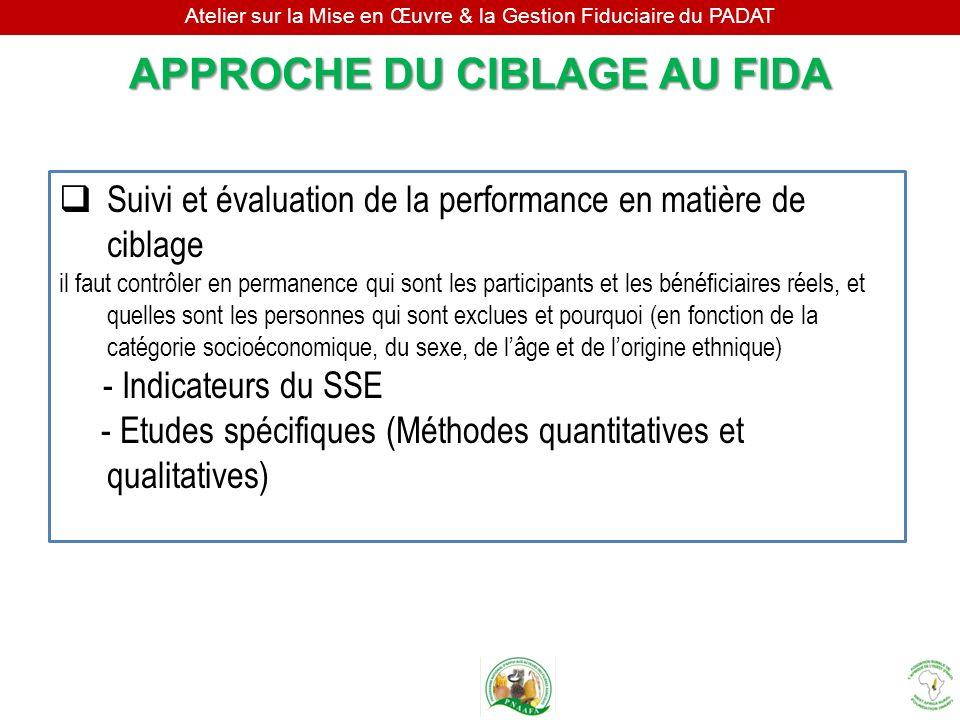 Atelier sur la Mise en Œuvre & la Gestion Fiduciaire du PADAT Suivi et évaluation de la performance en matière de ciblage il faut contrôler en permane