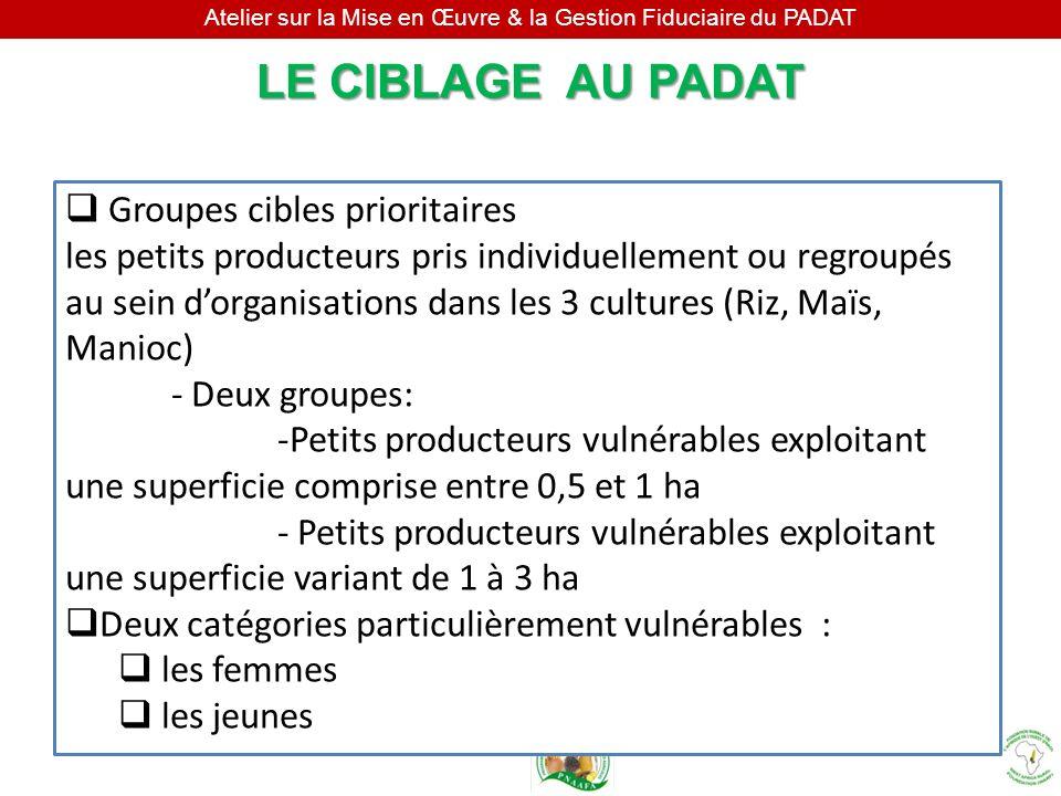 Atelier sur la Mise en Œuvre & la Gestion Fiduciaire du PADAT Groupes cibles prioritaires les petits producteurs pris individuellement ou regroupés au