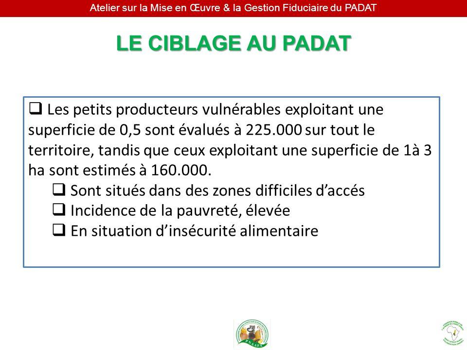 Atelier sur la Mise en Œuvre & la Gestion Fiduciaire du PADAT LE CIBLAGE AU PADAT Les petits producteurs vulnérables exploitant une superficie de 0,5