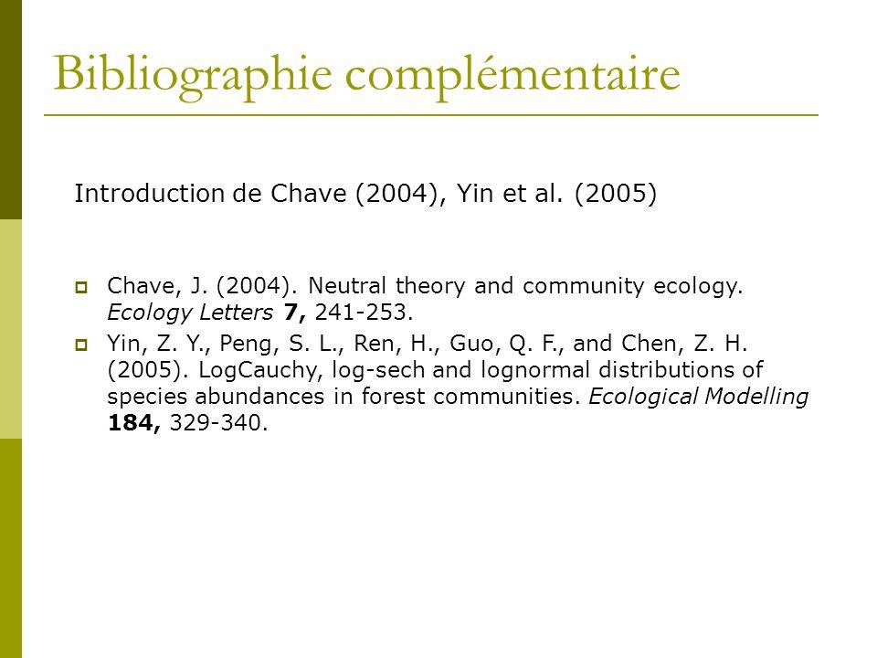 Bibliographie complémentaire Introduction de Chave (2004), Yin et al. (2005) Chave, J. (2004). Neutral theory and community ecology. Ecology Letters 7