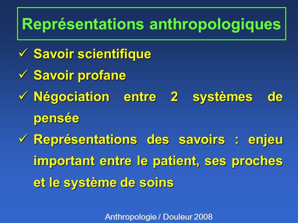 Représentations anthropologiques Savoir scientifique Savoir scientifique Savoir profane Savoir profane Négociation entre 2 systèmes de pensée Négociat