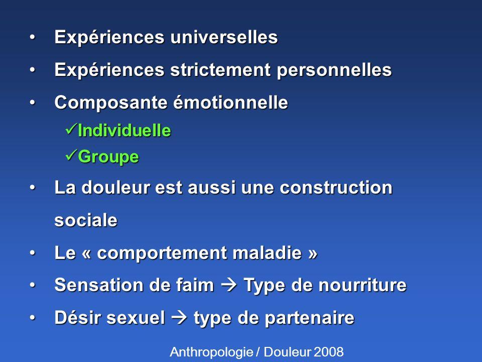 Expériences universellesExpériences universelles Expériences strictement personnellesExpériences strictement personnelles Composante émotionnelleCompo