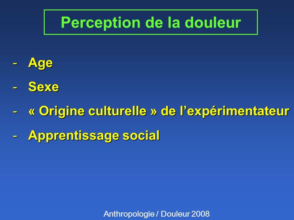 Perception de la douleur -Age -Sexe -« Origine culturelle » de lexpérimentateur -Apprentissage social Anthropologie / Douleur 2008