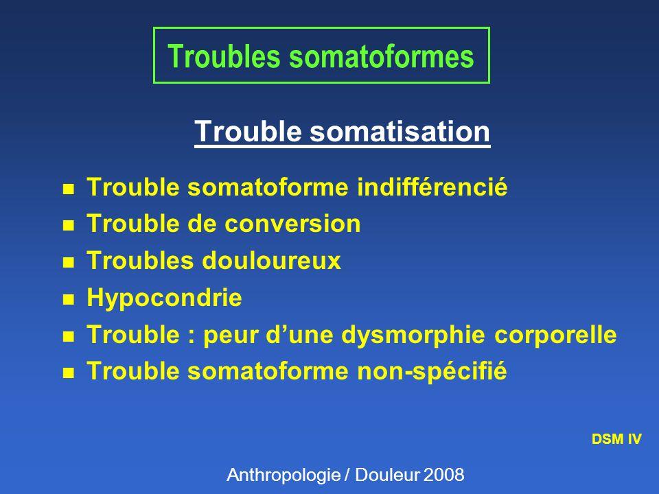 Troubles somatoformes Trouble somatisation n Trouble somatoforme indifférencié n Trouble de conversion n Troubles douloureux n Hypocondrie n Trouble :