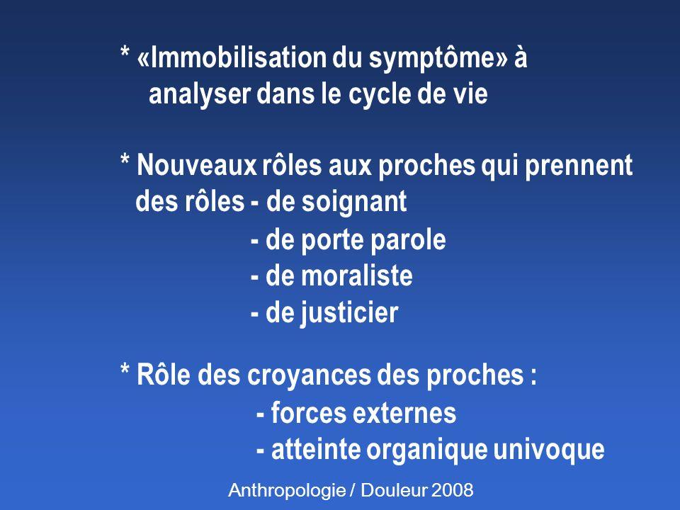* «Immobilisation du symptôme» à analyser dans le cycle de vie * Nouveaux rôles aux proches qui prennent des rôles - de soignant - de porte parole - d