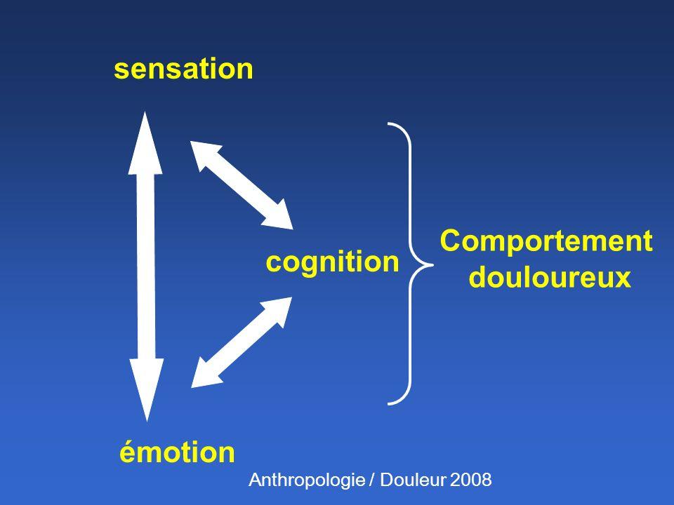 sensation émotion cognition Comportement douloureux Anthropologie / Douleur 2008