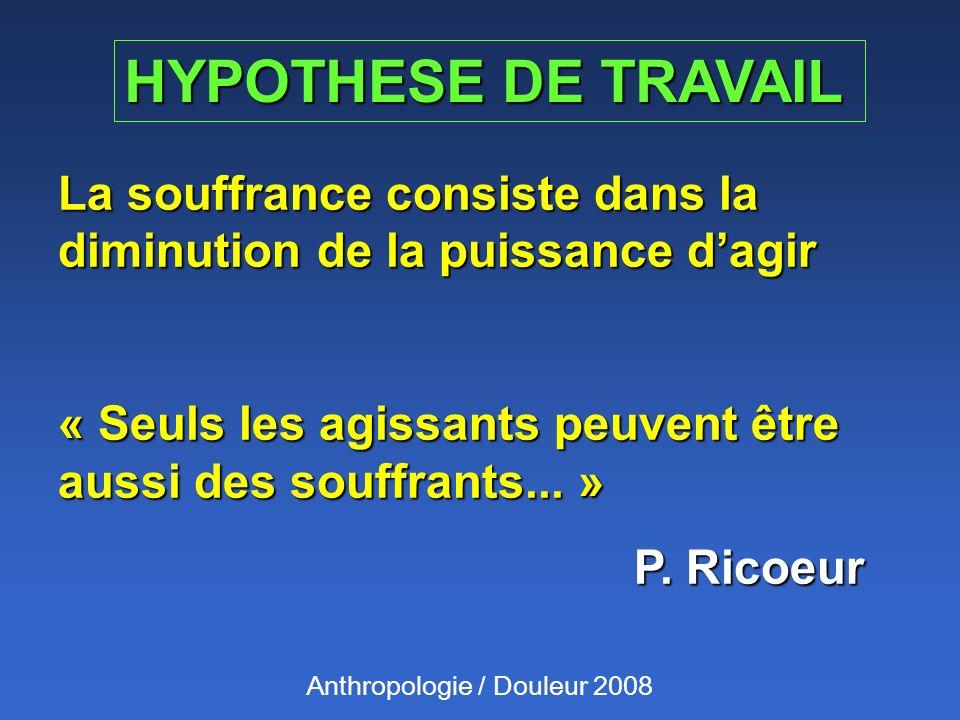 HYPOTHESE DE TRAVAIL La souffrance consiste dans la diminution de la puissance dagir « Seuls les agissants peuvent être aussi des souffrants... » P. R