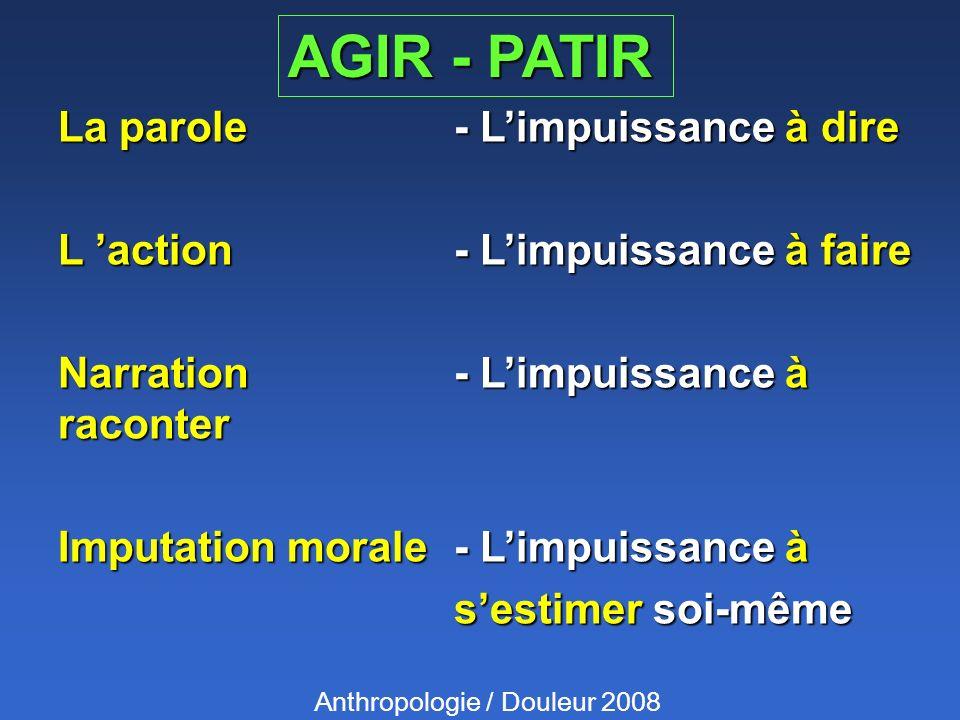 AGIR - PATIR La parole - Limpuissance à dire L action - Limpuissance à faire Narration - Limpuissance à raconter Imputation morale - Limpuissance à se