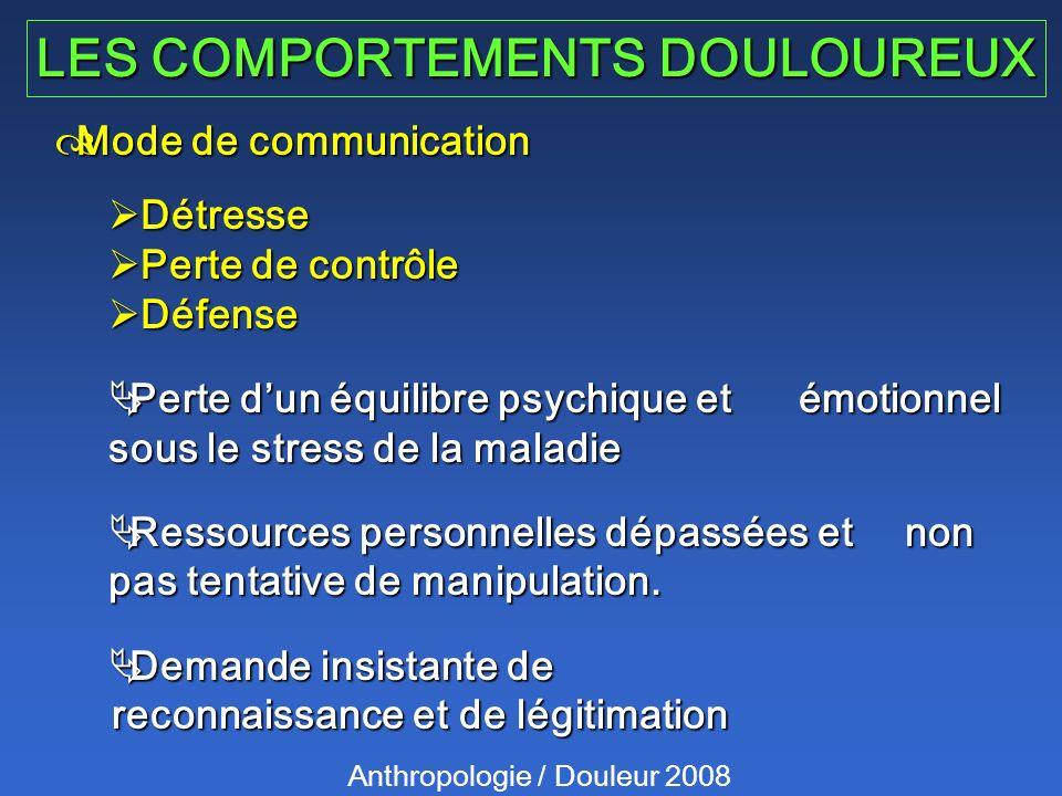 LES COMPORTEMENTS DOULOUREUX Anthropologie / Douleur 2008 Mode de communication Mode de communication Détresse Détresse Perte de contrôle Perte de con