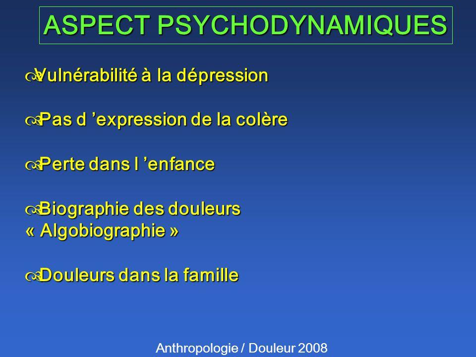 ASPECT PSYCHODYNAMIQUES Anthropologie / Douleur 2008 Vulnérabilité à la dépression Vulnérabilité à la dépression Pas d expression de la colère Pas d e