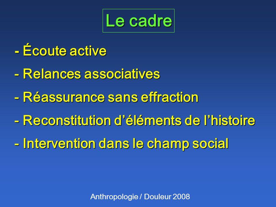Le cadre Anthropologie / Douleur 2008 - Écoute active - Relances associatives - Réassurance sans effraction - Reconstitution déléments de lhistoire - Intervention dans le champ social