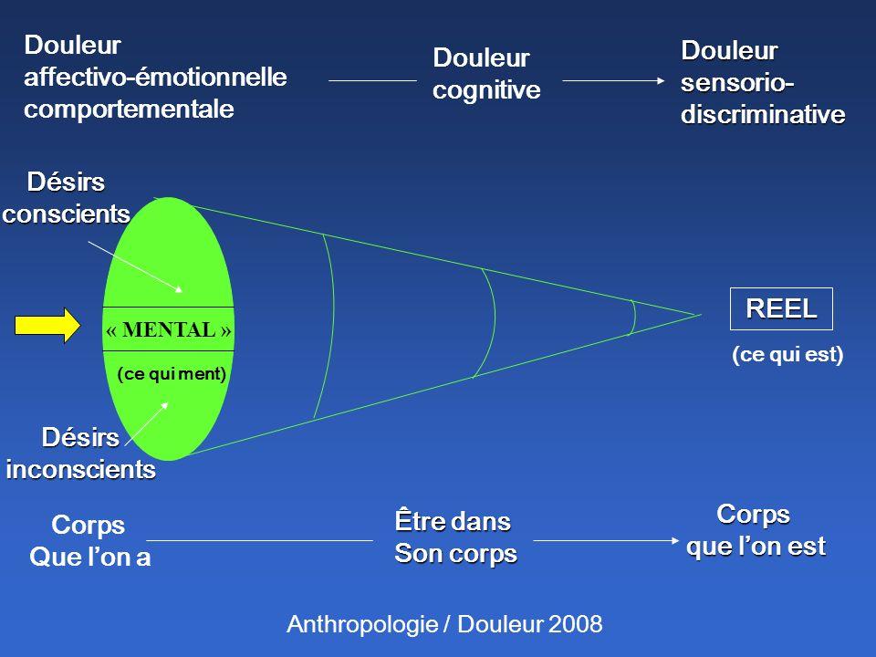 Anthropologie / Douleur 2008 Douleur affectivo-émotionnelle comportementale Douleur cognitive Douleur sensorio- discriminative Corps Que lon a Être da