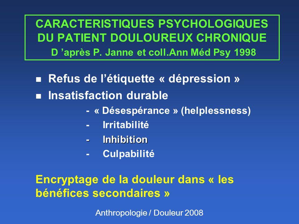 CARACTERISTIQUES PSYCHOLOGIQUES DU PATIENT DOULOUREUX CHRONIQUE D après P. Janne et coll.Ann Méd Psy 1998 n Refus de létiquette « dépression » n Insat