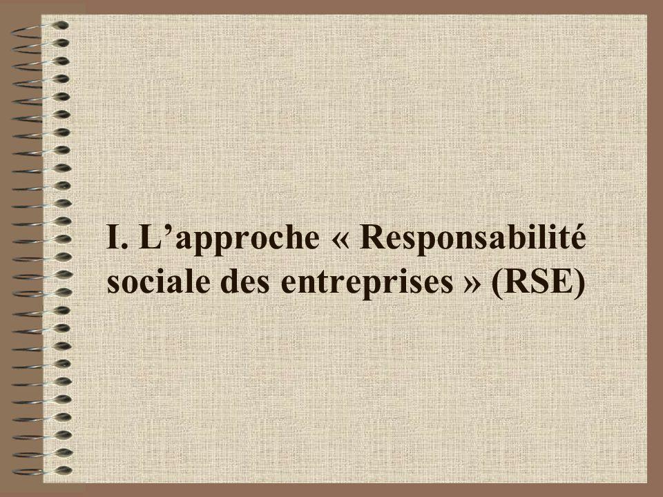 I. Lapproche « Responsabilité sociale des entreprises » (RSE)