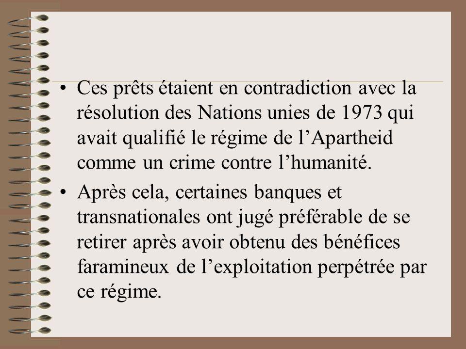 Ces prêts étaient en contradiction avec la résolution des Nations unies de 1973 qui avait qualifié le régime de lApartheid comme un crime contre lhuma
