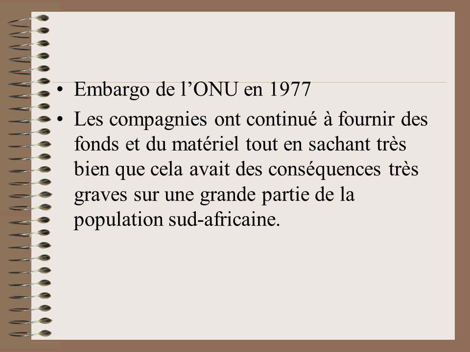 Embargo de lONU en 1977 Les compagnies ont continué à fournir des fonds et du matériel tout en sachant très bien que cela avait des conséquences très