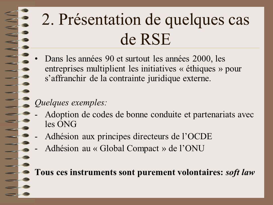 2. Présentation de quelques cas de RSE Dans les années 90 et surtout les années 2000, les entreprises multiplient les initiatives « éthiques » pour sa