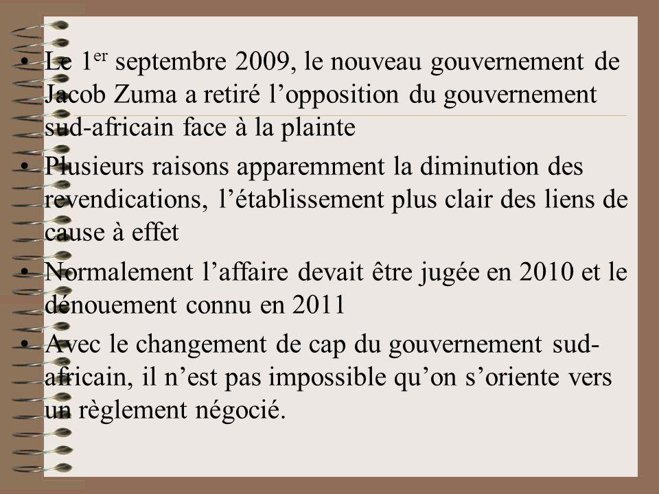 Le 1 er septembre 2009, le nouveau gouvernement de Jacob Zuma a retiré lopposition du gouvernement sud-africain face à la plainte Plusieurs raisons ap
