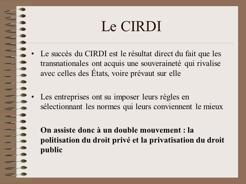 Le CIRDI Le succès du CIRDI est le résultat direct du fait que les transnationales ont acquis une souveraineté qui rivalise avec celles des États, voi