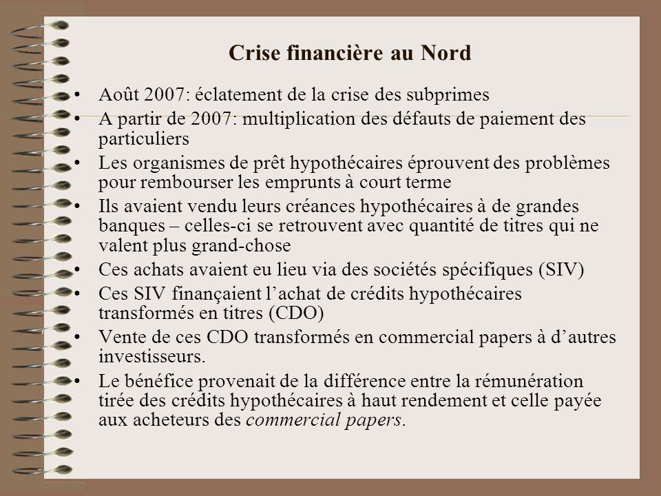 Crise financière au Nord Août 2007: éclatement de la crise des subprimes A partir de 2007: multiplication des défauts de paiement des particuliers Les