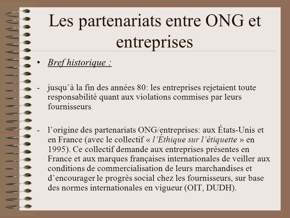 Les partenariats entre ONG et entreprises Bref historique : -jusquà la fin des années 80: les entreprises rejetaient toute responsabilité quant aux vi