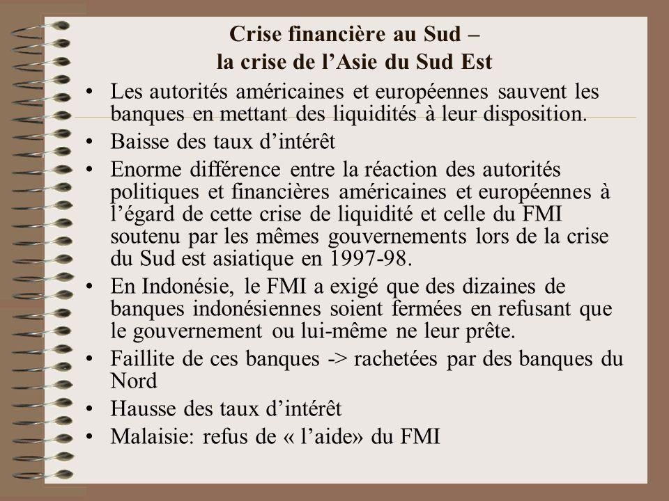 Crise financière au Sud – la crise de lAsie du Sud Est Les autorités américaines et européennes sauvent les banques en mettant des liquidités à leur d