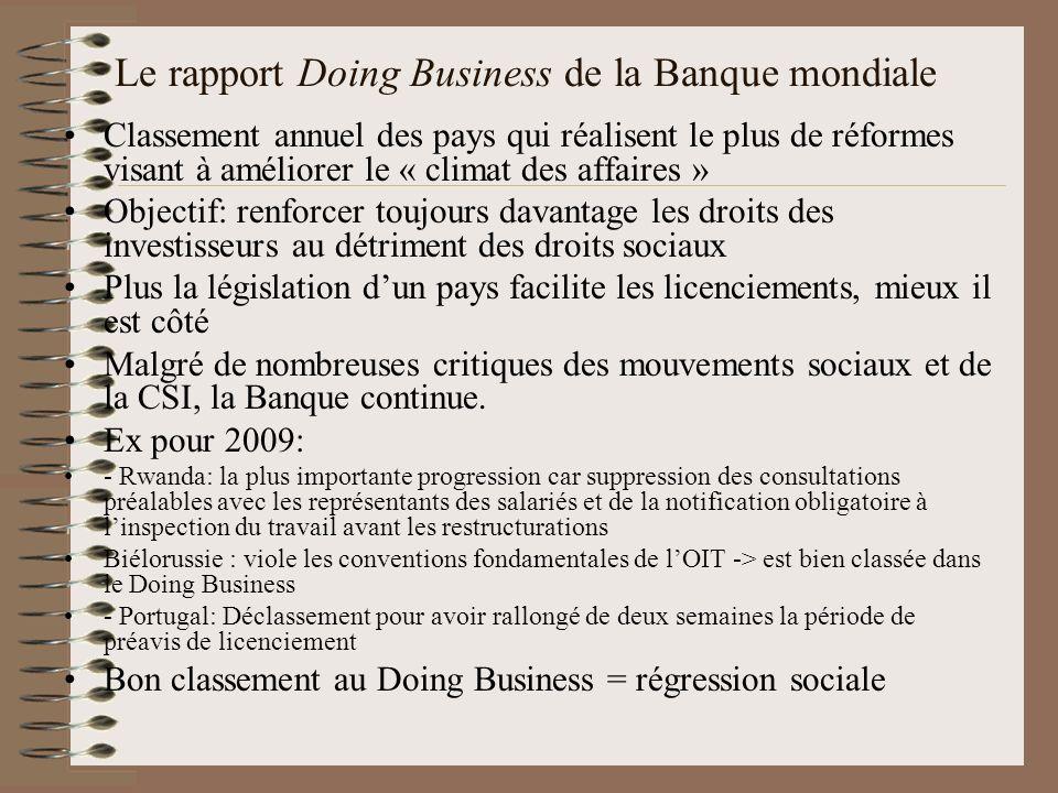 Le rapport Doing Business de la Banque mondiale Classement annuel des pays qui réalisent le plus de réformes visant à améliorer le « climat des affair