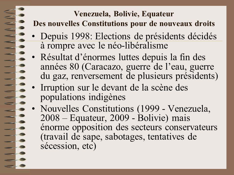 Venezuela, Bolivie, Equateur Des nouvelles Constitutions pour de nouveaux droits Depuis 1998: Elections de présidents décidés à rompre avec le néo-lib