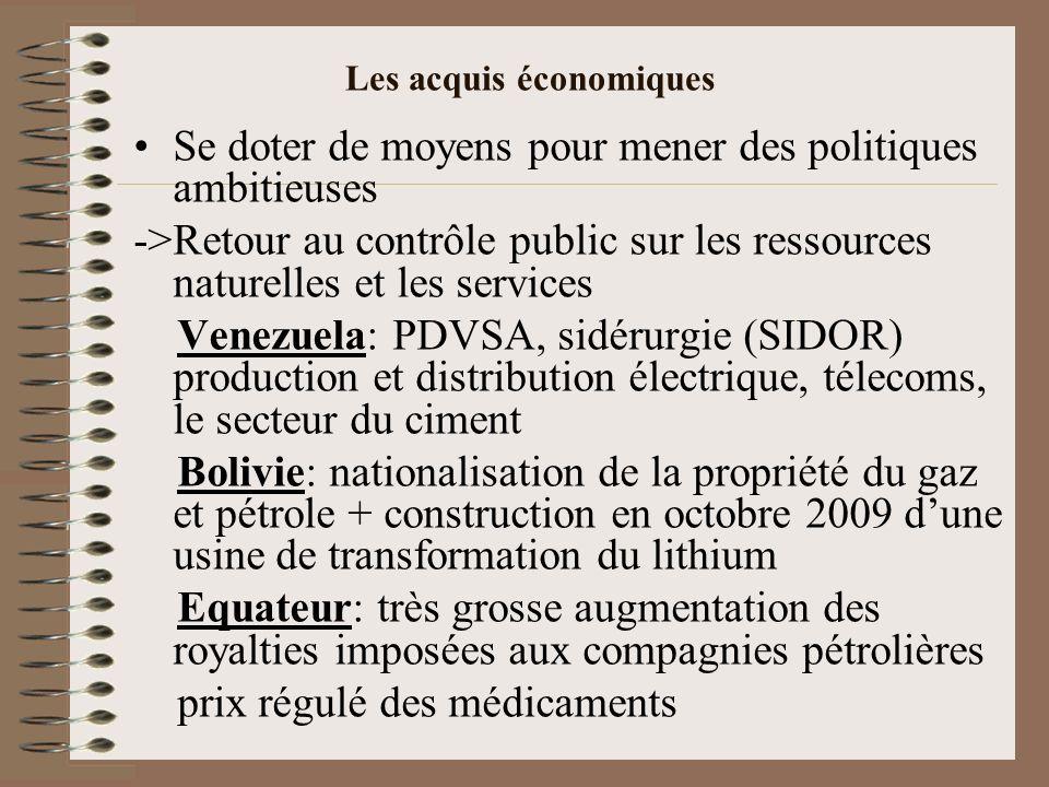 Les acquis économiques Se doter de moyens pour mener des politiques ambitieuses ->Retour au contrôle public sur les ressources naturelles et les servi