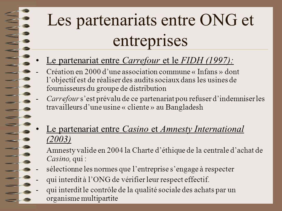 Les partenariats entre ONG et entreprises Le partenariat entre Carrefour et le FIDH (1997): -Création en 2000 dune association commune « Infans » dont