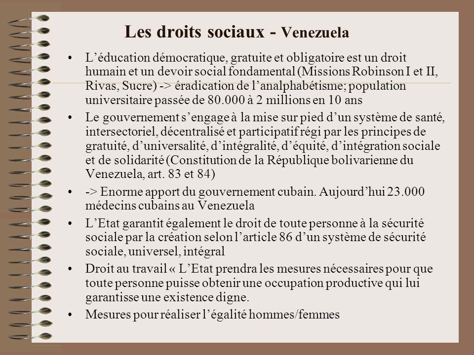 Les droits sociaux - Venezuela Léducation démocratique, gratuite et obligatoire est un droit humain et un devoir social fondamental (Missions Robinson