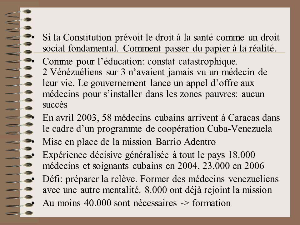 Si la Constitution prévoit le droit à la santé comme un droit social fondamental. Comment passer du papier à la réalité. Comme pour léducation: consta