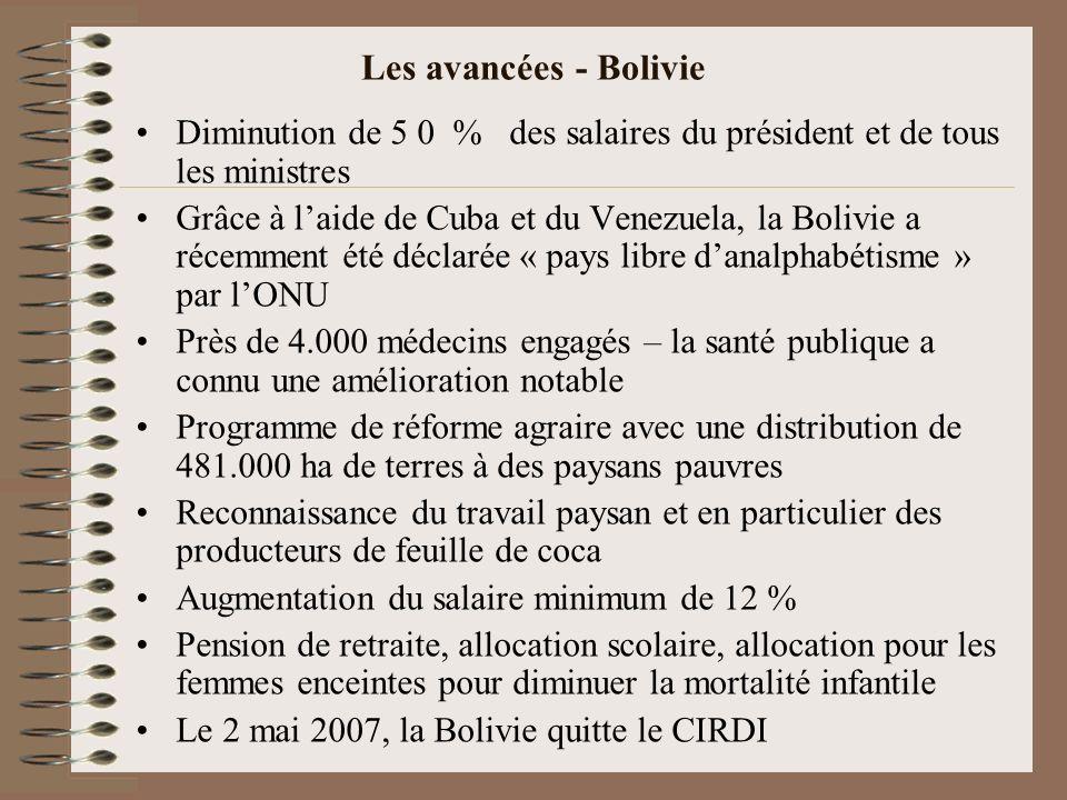 Les avancées - Bolivie Diminution de 5 0 % des salaires du président et de tous les ministres Grâce à laide de Cuba et du Venezuela, la Bolivie a réce