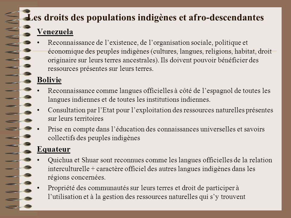 Les droits des populations indigènes et afro-descendantes Venezuela Reconnaissance de lexistence, de lorganisation sociale, politique et économique de