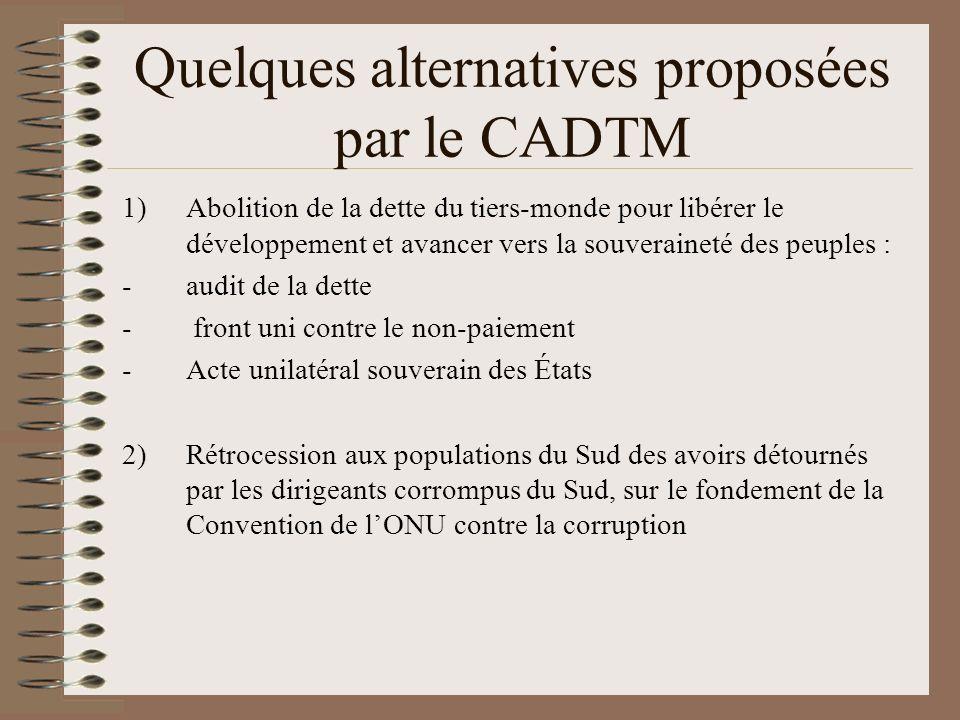 Quelques alternatives proposées par le CADTM 1)Abolition de la dette du tiers-monde pour libérer le développement et avancer vers la souveraineté des