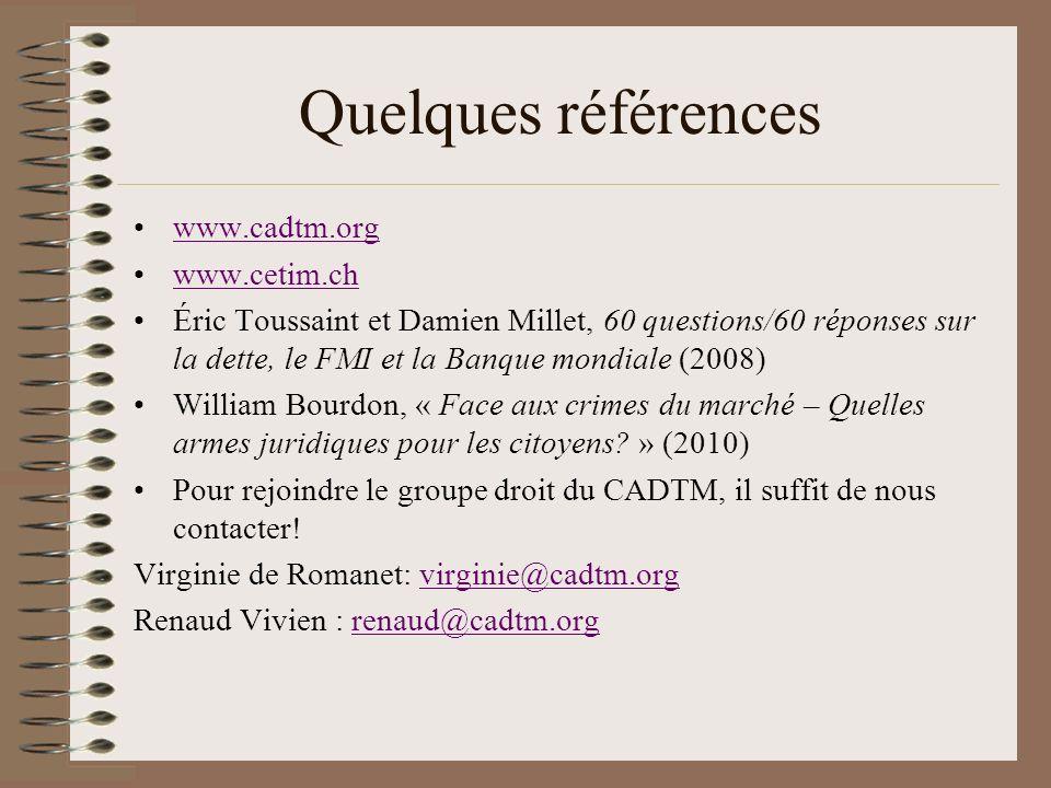 Quelques références www.cadtm.org www.cetim.ch Éric Toussaint et Damien Millet, 60 questions/60 réponses sur la dette, le FMI et la Banque mondiale (2