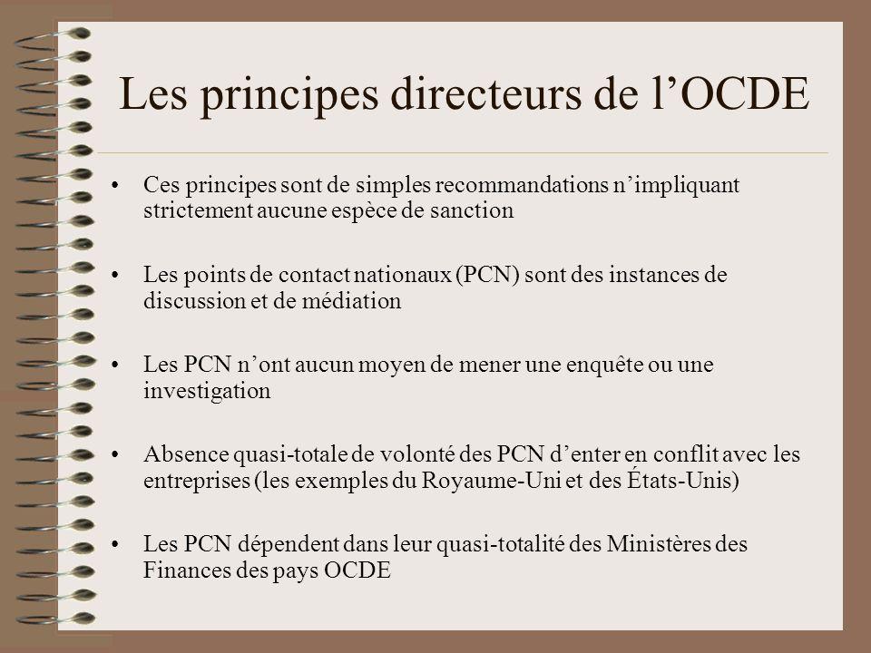 Les principes directeurs de lOCDE Ces principes sont de simples recommandations nimpliquant strictement aucune espèce de sanction Les points de contac