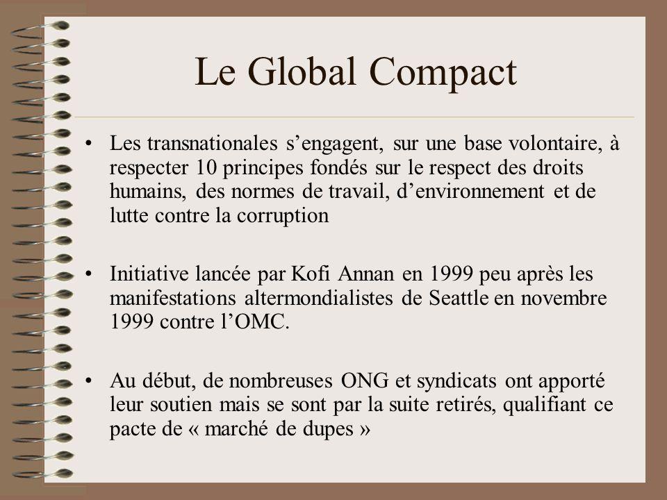 Le Global Compact Les transnationales sengagent, sur une base volontaire, à respecter 10 principes fondés sur le respect des droits humains, des norme