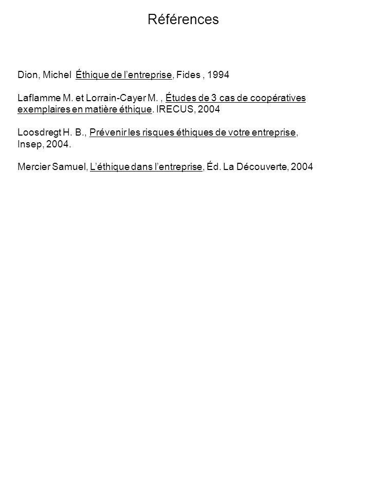 Références Dion, Michel Éthique de lentreprise, Fides, 1994 Laflamme M.