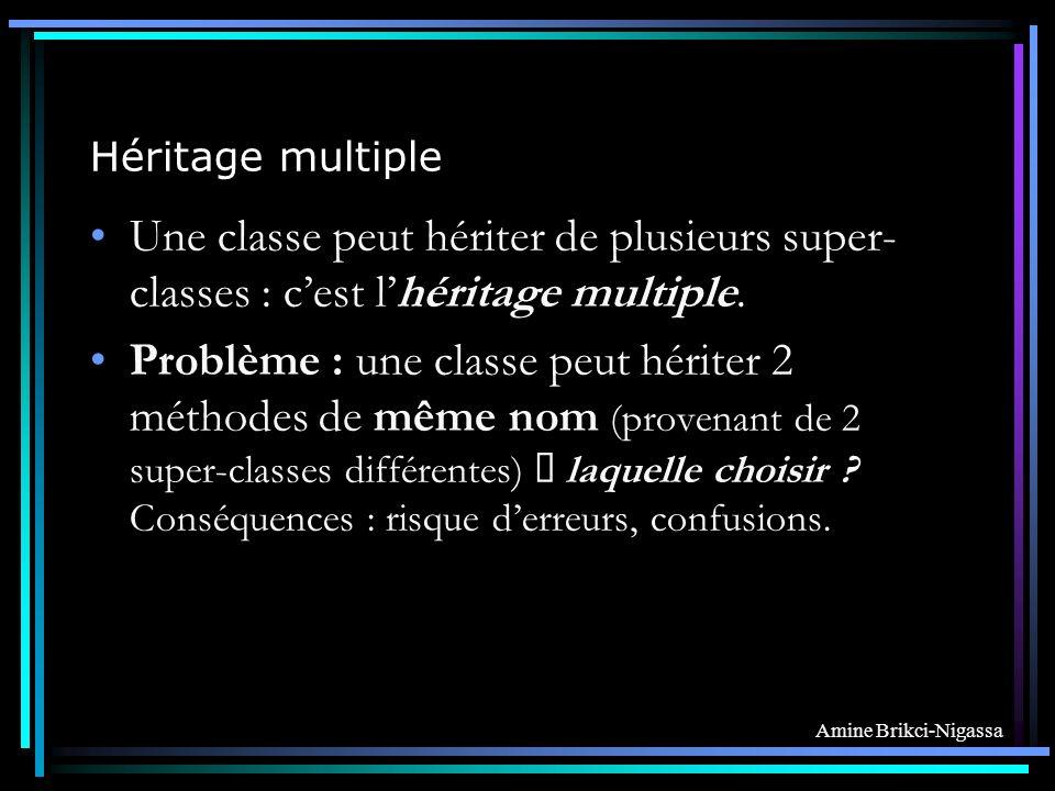 Amine Brikci-Nigassa Héritage multiple Une classe peut hériter de plusieurs super- classes : cest lhéritage multiple.