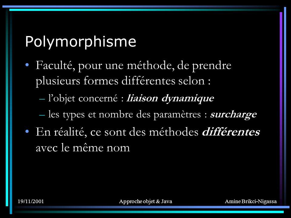 Amine Brikci-Nigassa 19/11/2001Approche objet & Java Polymorphisme Faculté, pour une méthode, de prendre plusieurs formes différentes selon : –lobjet concerné : liaison dynamique –les types et nombre des paramètres : surcharge En réalité, ce sont des méthodes différentes avec le même nom