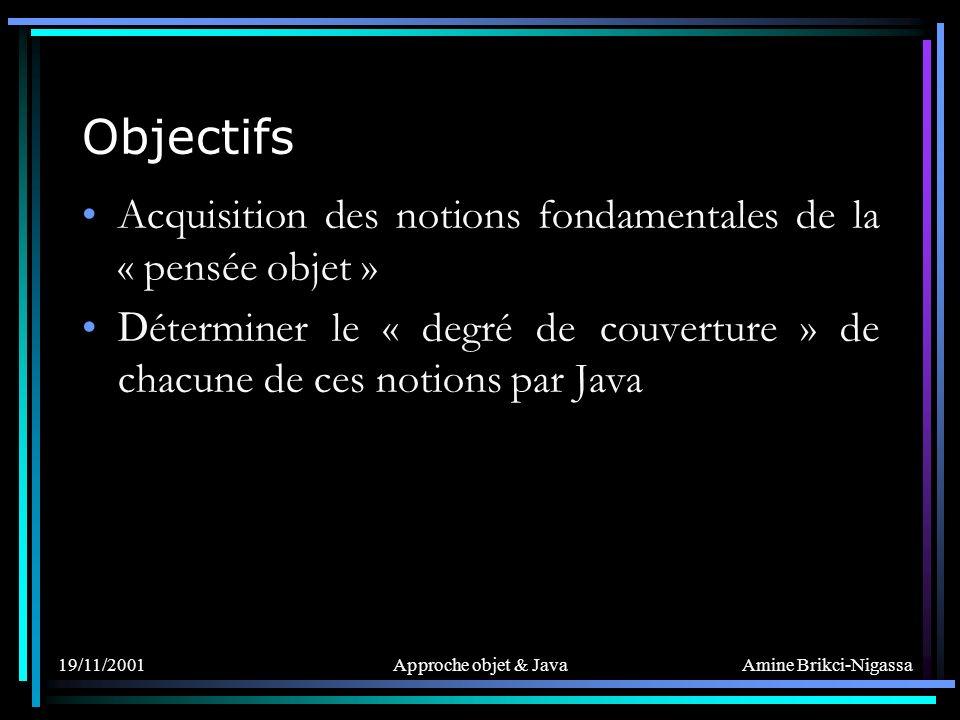 19/11/2001Approche objet & Java Objectifs Acquisition des notions fondamentales de la « pensée objet » D éterminer le « degré de couverture » de chacune de ces notions par Java