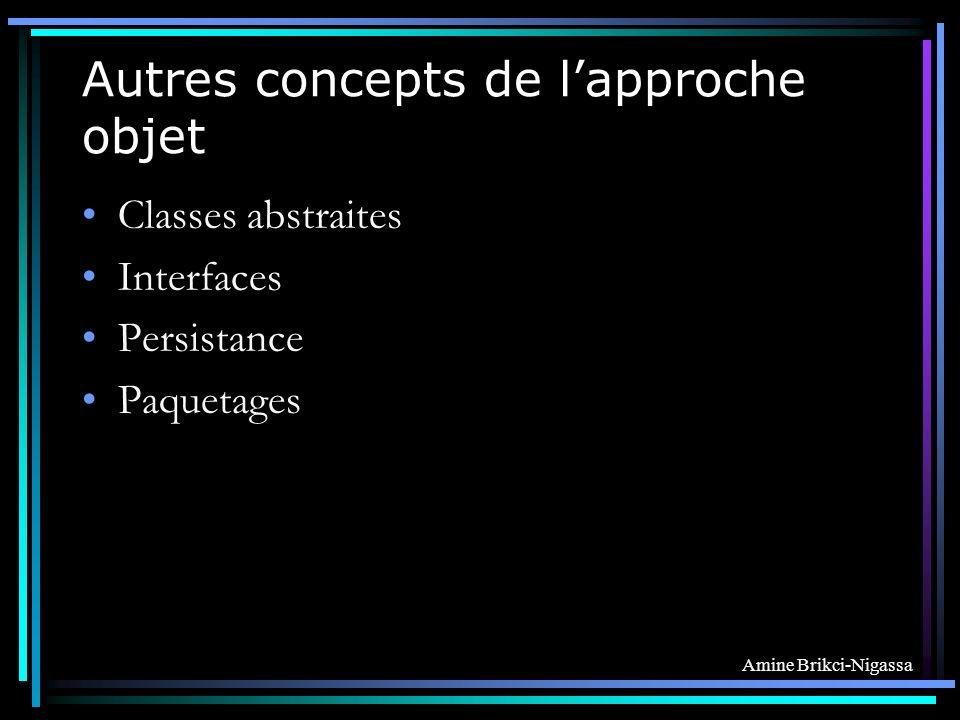 Amine Brikci-Nigassa Autres concepts de lapproche objet Classes abstraites Interfaces Persistance Paquetages