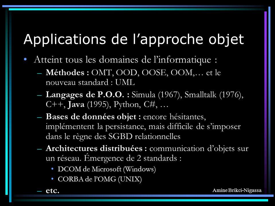 Amine Brikci-Nigassa Applications de lapproche objet Atteint tous les domaines de linformatique : –Méthodes : OMT, OOD, OOSE, OOM,… et le nouveau standard : UML –Langages de P.O.O.