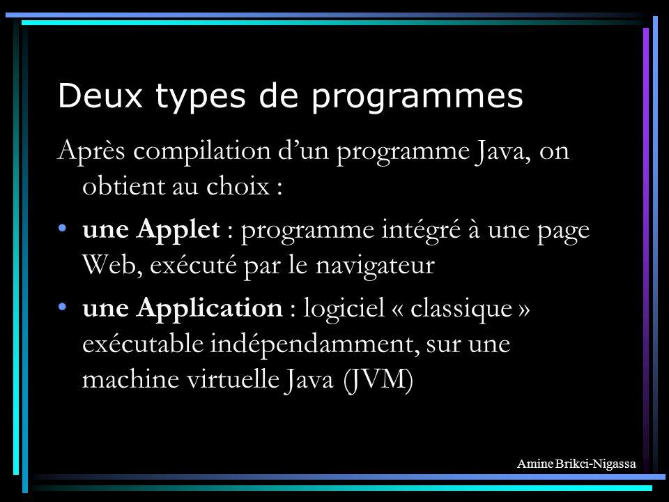 Amine Brikci-Nigassa Deux types de programmes Après compilation dun programme Java, on obtient au choix : une Applet : programme intégré à une page Web, exécuté par le navigateur une Application : logiciel « classique » exécutable indépendamment, sur une machine virtuelle Java (JVM)