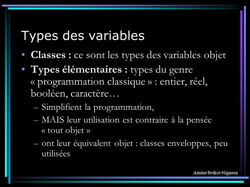 Amine Brikci-Nigassa Types des variables Classes : ce sont les types des variables objet Types élémentaires : types du genre « programmation classique » : entier, réel, booléen, caractère… –Simplifient la programmation, –MAIS leur utilisation est contraire à la pensée « tout objet » –ont leur équivalent objet : classes enveloppes, peu utilisées