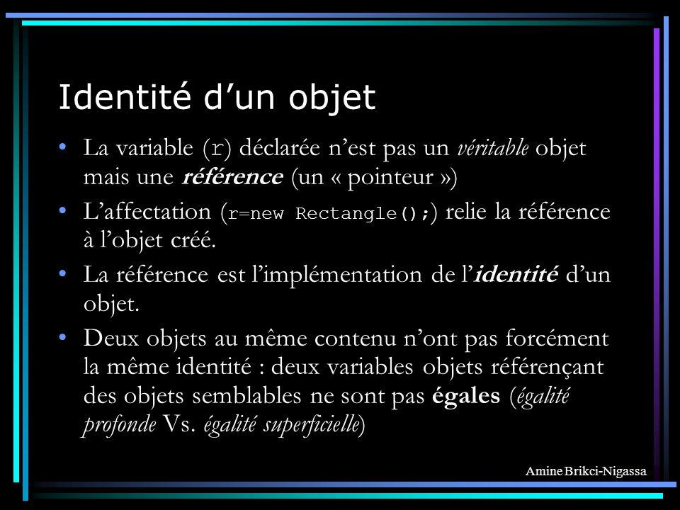 Amine Brikci-Nigassa Identité dun objet La variable ( r ) déclarée nest pas un véritable objet mais une référence (un « pointeur ») Laffectation ( r=new Rectangle(); ) relie la référence à lobjet créé.