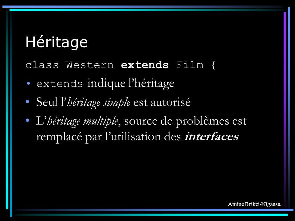 Amine Brikci-Nigassa Héritage class Western extends Film { extends indique lhéritage Seul lhéritage simple est autorisé Lhéritage multiple, source de problèmes est remplacé par lutilisation des interfaces