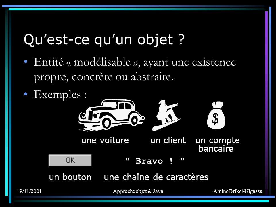 Amine Brikci-Nigassa 19/11/2001Approche objet & Java Caractéristiques dun objet son Identité son État son Comportement